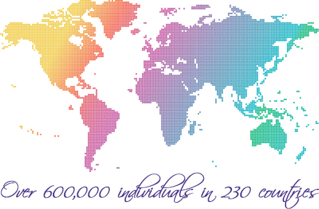 Over 600,000 individuals in 230 countries