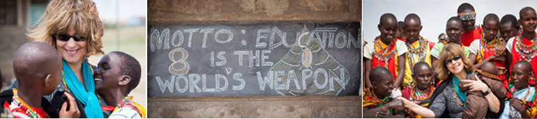 Photos of children and Cynthia Kersey, blackbard with the words, MOTTO: EDUCATION IS THE WORLD'S WEAPON